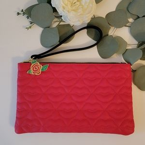 Betsey Johnson Red Quilted Lips clutch/wristlet